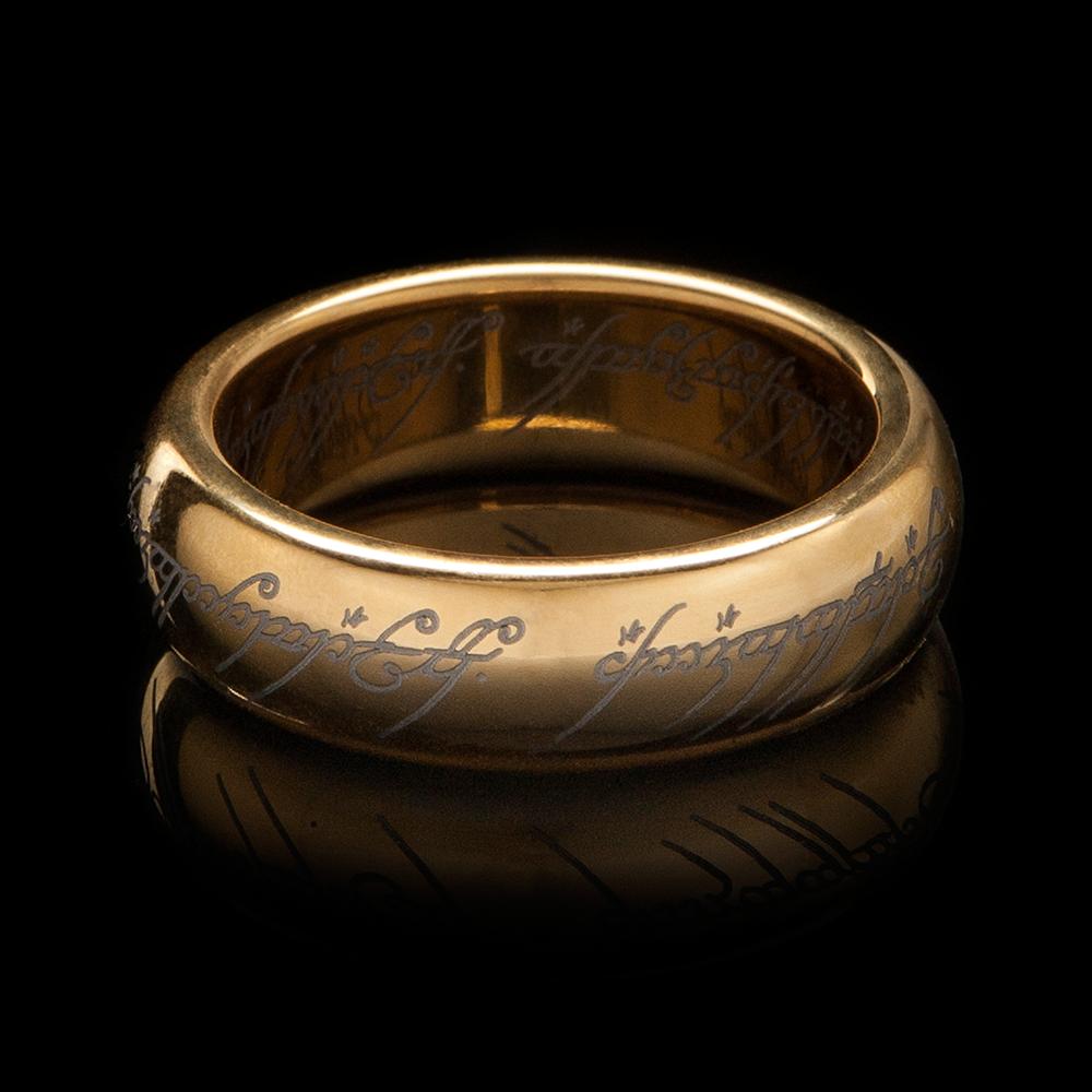 gold plated with elvish runes - Elvish Wedding Rings